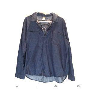 Blue Long Sleeve Jean Shirt